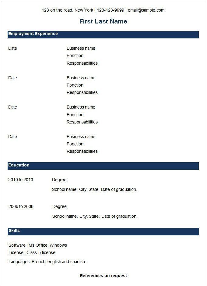 Clever Design Ideas Sample Basic Resume 16 Basic Resume Template ...