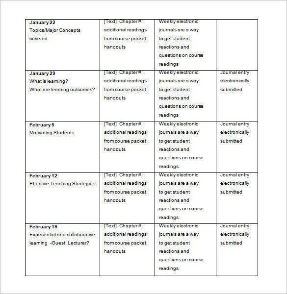 College Class Schedule Template – 4+ Free Word, Excel, PDF Format ...