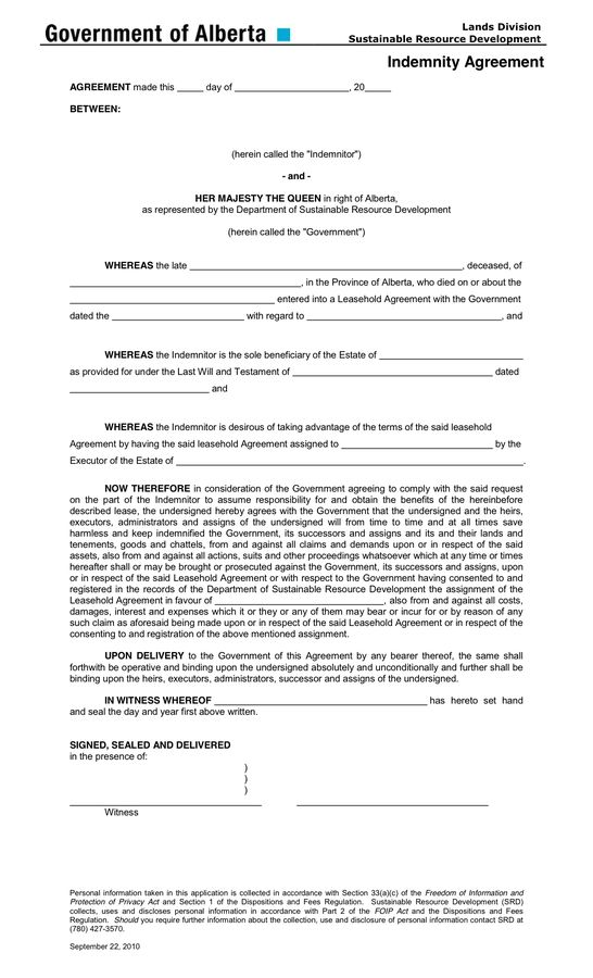 Indemnity Agreement Form in Word and Pdf formats
