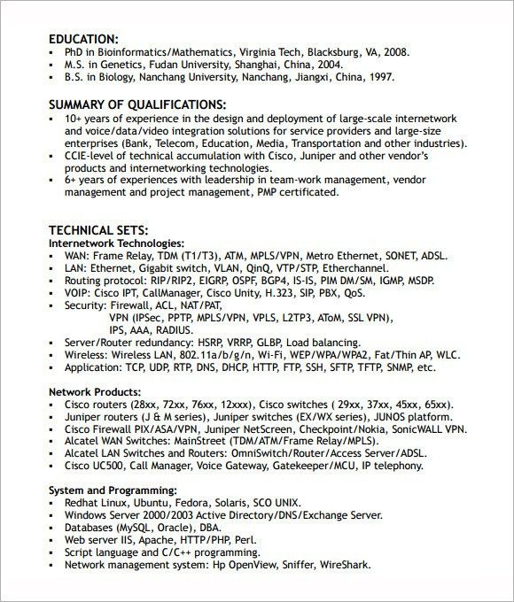 Telecommunications Network Engineer Sample Resume Network Field