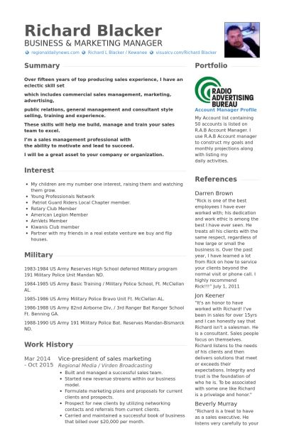 Territory Manager Resume samples - VisualCV resume samples database