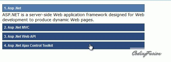 Ajax control toolkit accordion example with demo in asp .net