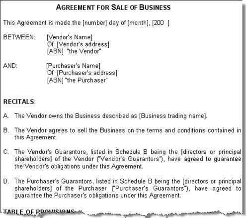 Sale of Business Agreement Contract Australia