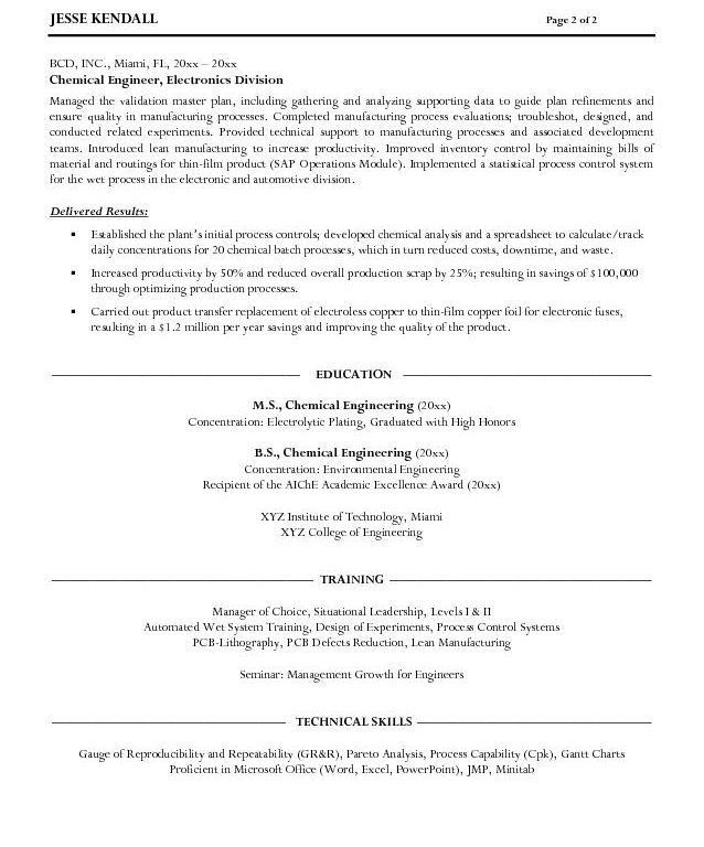 chemical engineer resume sample create my cover letter samples ...