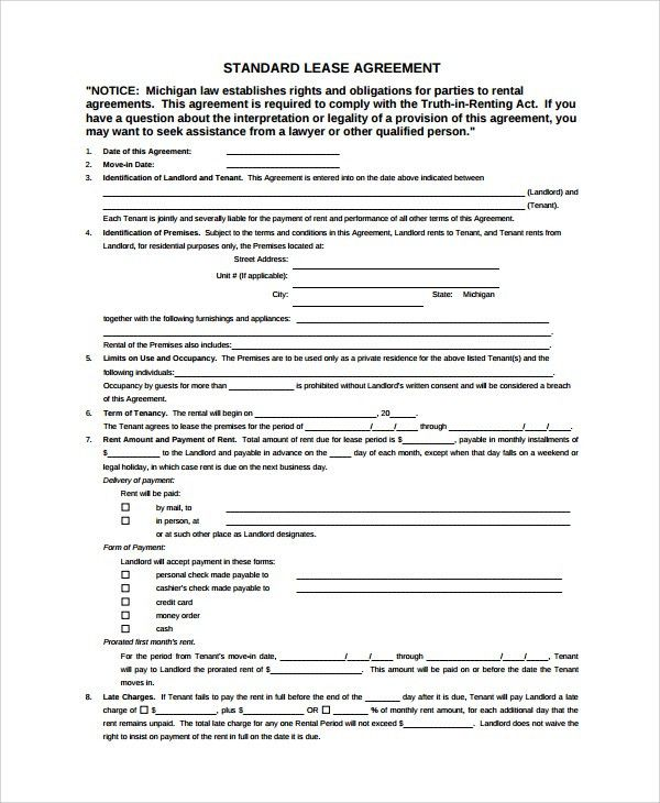 Sample Standard Lease Agreement - 7+ Documents in Word, PDF
