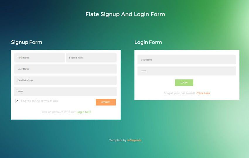 Flate Signup And Login Form Responsive Widget Template by w3layouts