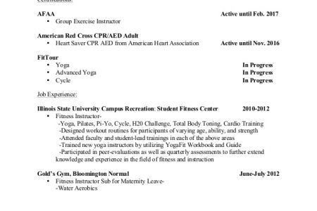 aerobic instructor resume sample reentrycorps - Pilates Instructor Resume