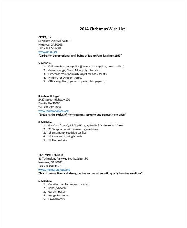 Doc.#530682: Christmas List Maker Free – Doc15841224 Christmas ...
