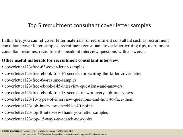 recruitment consultant cover letter sample