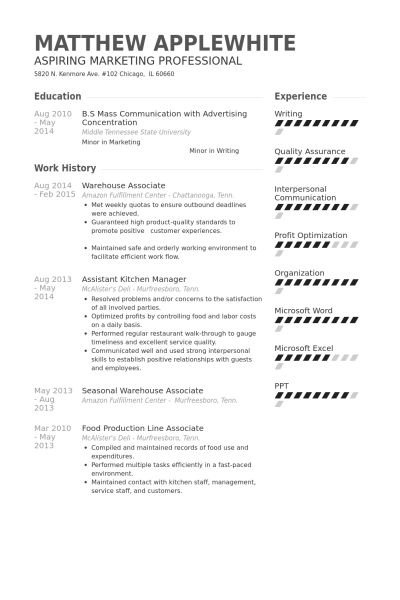 Warehouse Resume samples - VisualCV resume samples database