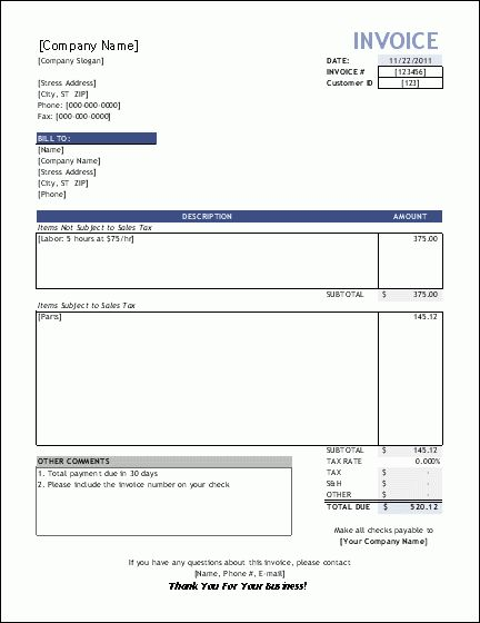 free construction time and material forms | Invoice Template for ...