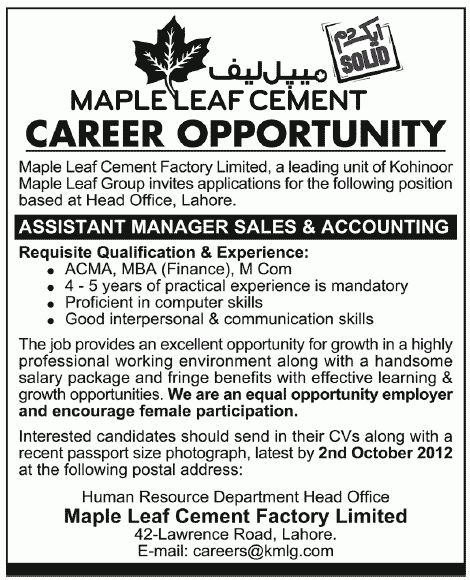 Maple Leaf Cement Requires Assistant Manager Sales & Accounting in ...