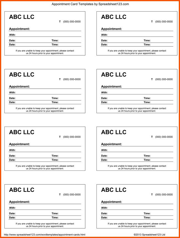 12+ appointment card template | Survey Template Words