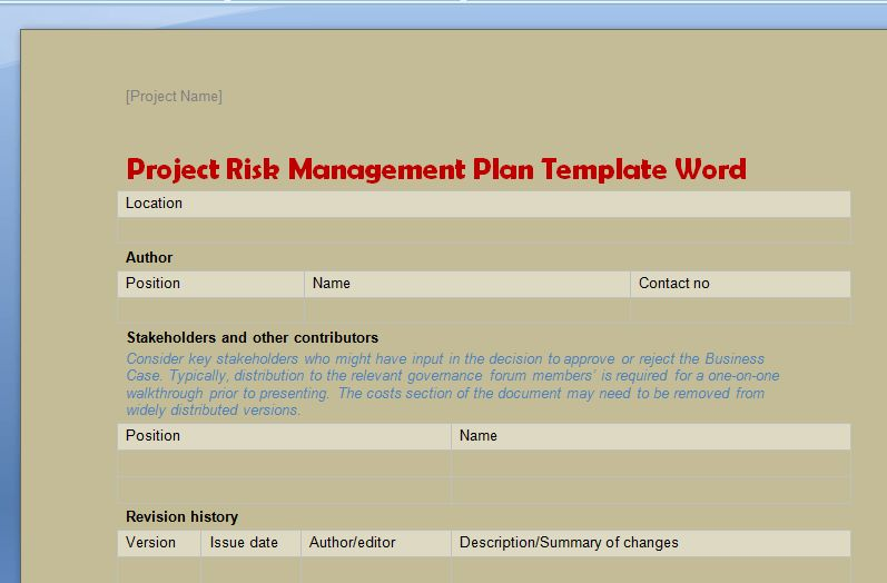Project Risk Management Plan Template Word - Project Management ...