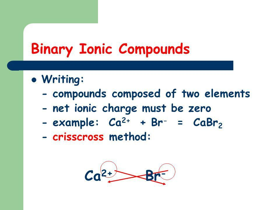 Chemical Nomenclature (or how we name compounds!) 1. binary ionic ...
