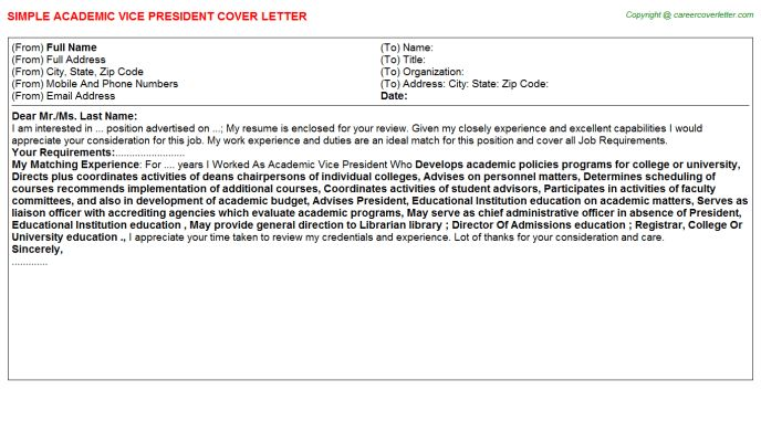 Academic Vice President Cover Letter