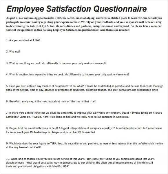 Sample Employee Morale Survey Questionnaire | Microsoft Gift ...
