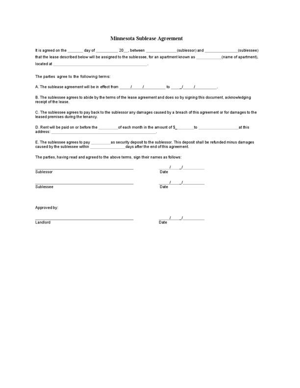 Minnesota Sublease Agreement | LegalForms.org