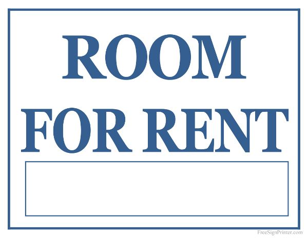 Printable Room For Rent Sign