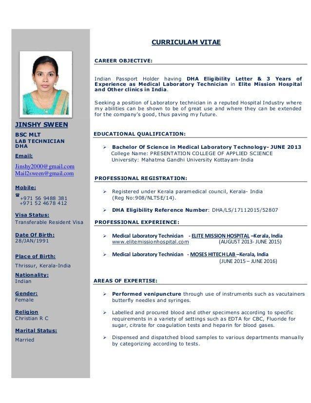 JINSHY CV-BSC MEDICAL LABORATORY TECHNICIAN