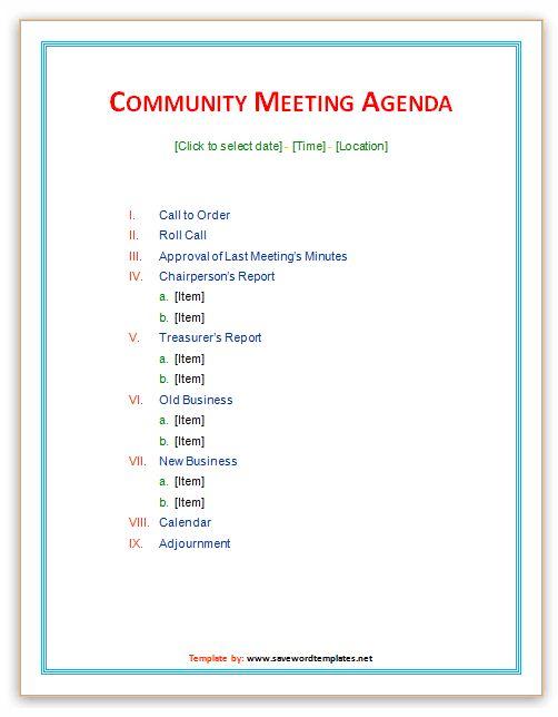 Best Meeting Agenda Template (2) | Professional Templates