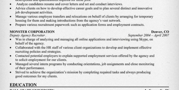 Sample Resume For Staffing Manager Staffing Agency Recruiter ...