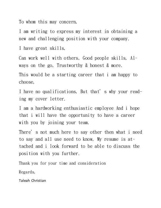 New Cover Letter & Resume