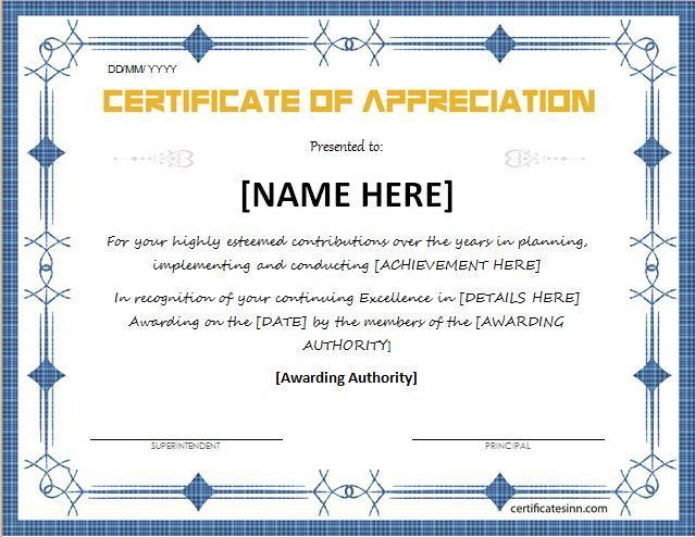 Certificates of Appreciation Templates for WORD | Professional ...