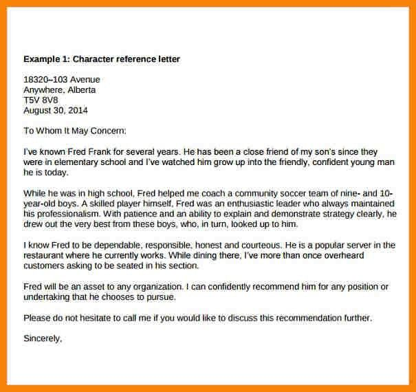 10+ sample character reference letter to judge   hr cover letter