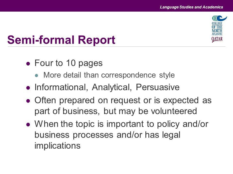 Differences and similarities with informal and formal reports ...