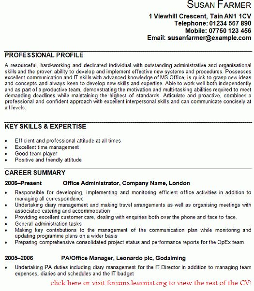 Office Administrator CV Example - Forums.learnist.org