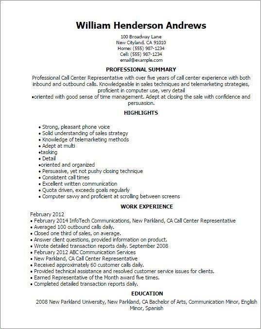 Majestic Design Resume Center 4 Call Center Representative Resume ...