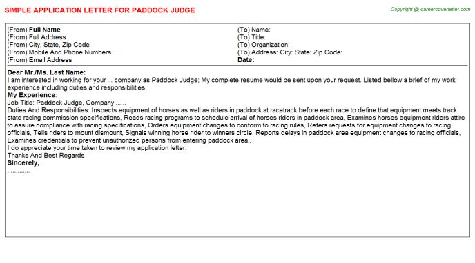 Paddock Judge Application Letters