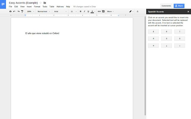 Easy Accents - Google Docs add-on
