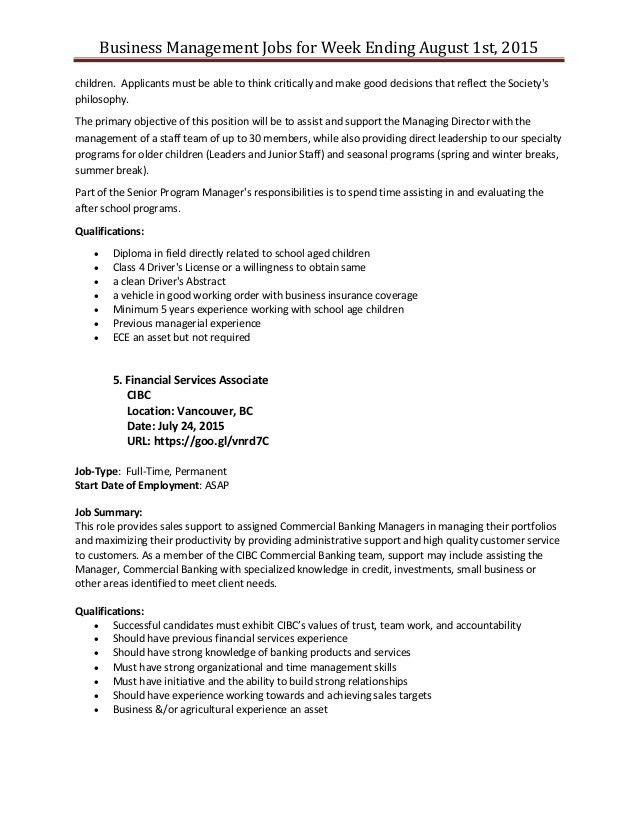 Business management job posting for week ending august 1st 2015