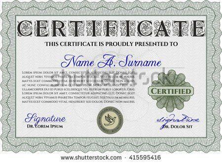 Sample Certificate Diploma Beauty Design Frame Stock Vector ...