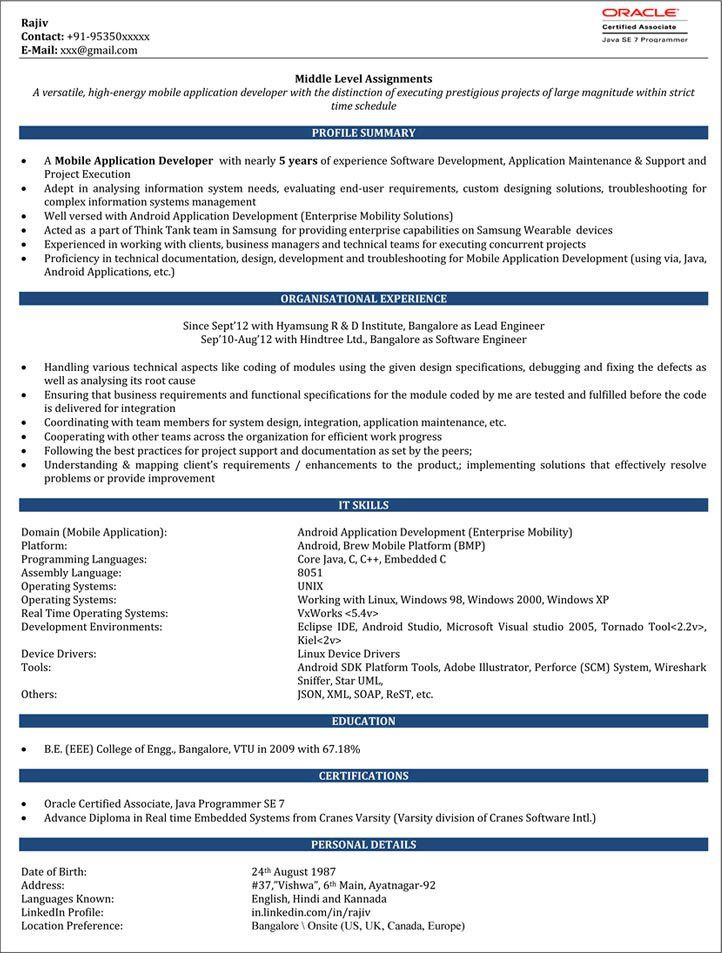 sample resume for java developer java developer resume sample