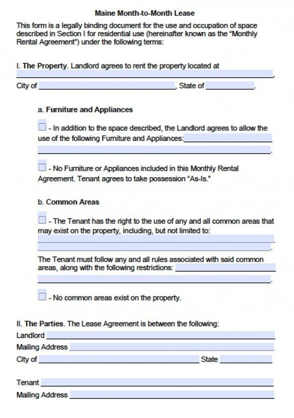 Free Maine Month-to-Month Lease Agreement | PDF | Word (.doc)