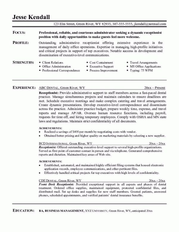 resume examples for medical receptionist example resume medical ...