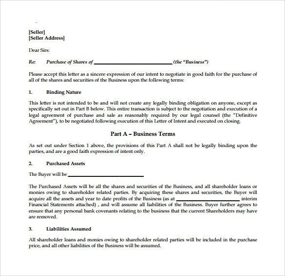 Letter Of Intent to Purchase Business - 8+ Free Samples, Examples ...