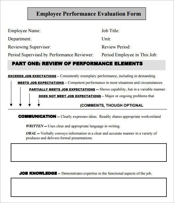 Appraisal Form In Doc. Employee Performance Self-Evaluation Form ...