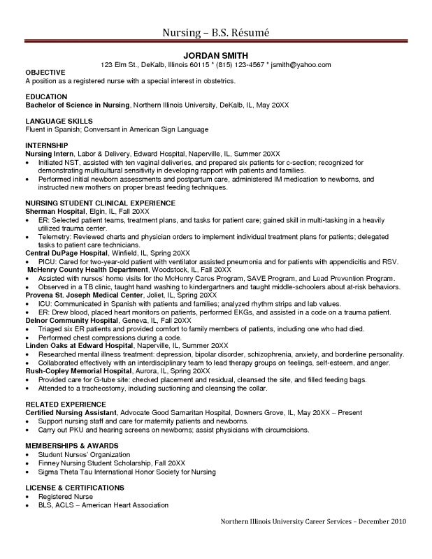 cover letter Nursing Resumes Objectives nursing student resume ...