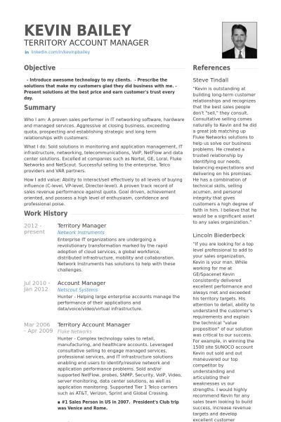 Territory Manager Resume samples - VisualCV resume samples database