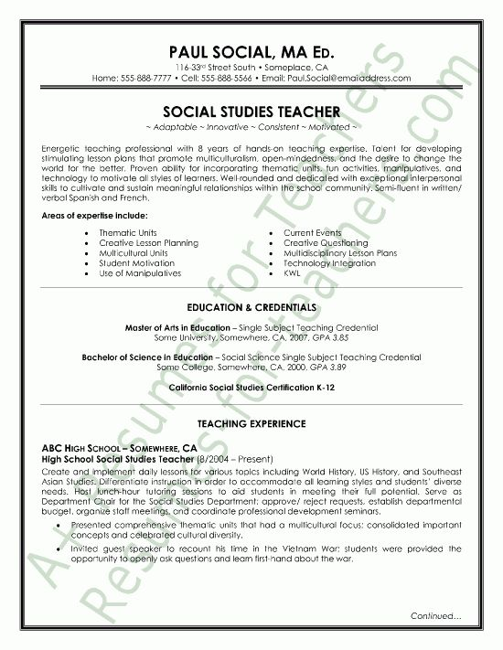 Social Studies Teacher Resume Sample page1 | Teacher and Principal ...