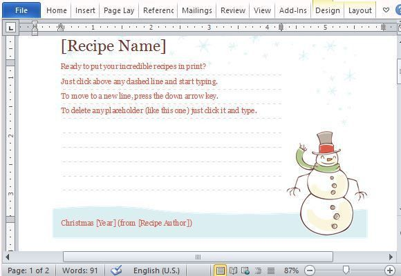 Recipe Cards Maker Templates For Word 2013