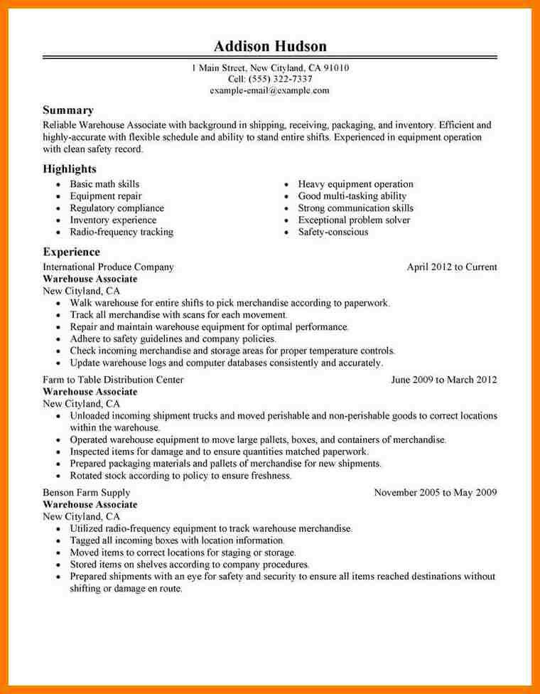 100+ Warehouse Worker Resume Example - Resume Free Template Maker ...