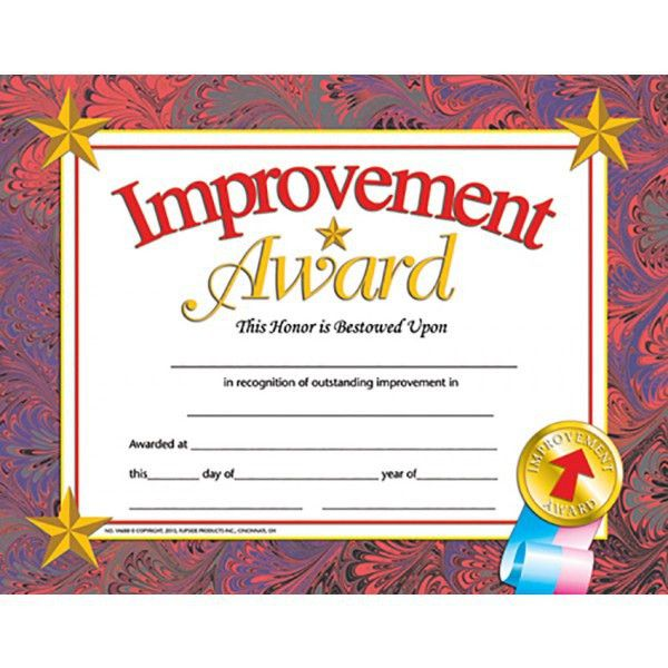Improvement Award Student Certificate, End of the School Year | A ...