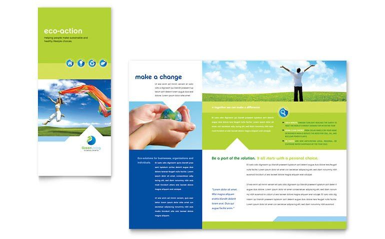 Green Living & Recycling Tri Fold Brochure Template - Word & Publisher