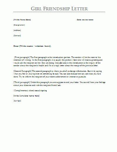 friendship letter | program format