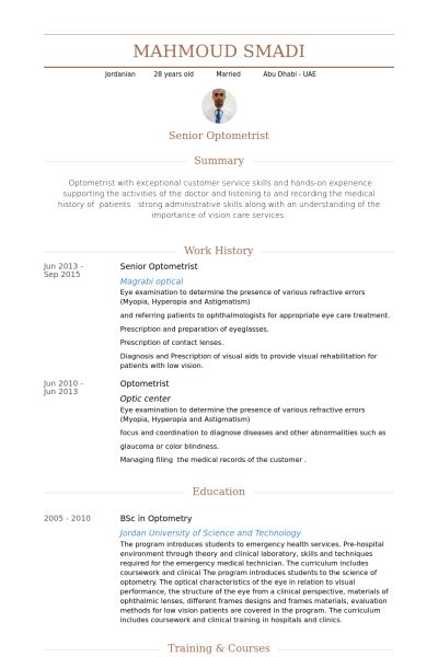 Optometrist Resume samples - VisualCV resume samples database